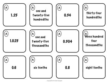 Decimal Place Value Memory Match 5th Grade Common Core by