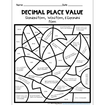 Decimal Place Value-Standard, Word, & Expanded Form: Color