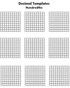 Decimal Tenths and Hundredths Grid and Number line