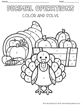 Decimal Thanksgiving Color and Solve by To the Square Inch