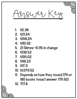 Decimal Word Problems- All Operations (Estimation Included