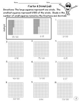 Decimal and Fractions Worksheet Activities {grades 3-5} by