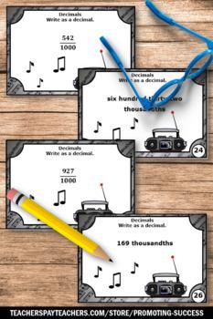 Write as a Decimal Task Cards ( Thousandths ) 4th Grade
