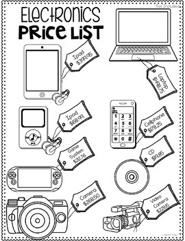Decimals Printables and Activities {Electronics Themed} by