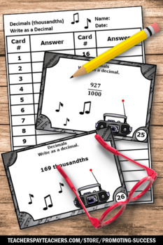 Converting Fractions to Decimals Task Cards BUNDLE 4th
