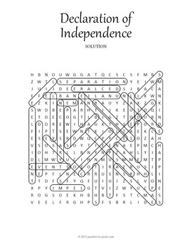 Declaration of Independence Word Search by Puzzles to