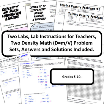 Density Labs & Density Math Word Problem Sets with Answers