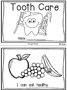 Dental Health Emergent Reader and Activities for
