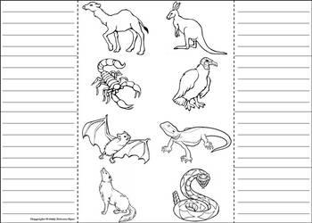 Desert Animals Activity: Interactive Notebook Foldable