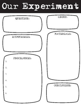 Design Your Own Science Experiment Record Sheet by