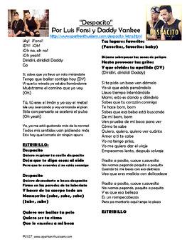 Un Beso Lyrics In English : lyrics, english, Despacito, Lyrics, Activities, Spanish, Fonsi, Daddy, Yankee, Musica