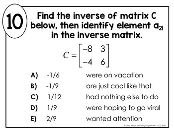 Determinants and Inverse Matrices Math Lib Activity by All