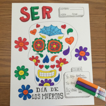 Dia de los muertos ~color by verb conjugation ~Ser ~Day of