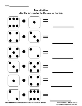 Dice Addition with Dots in Random Order by King Education
