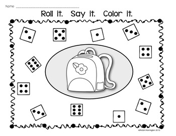 Dice Game: {Roll It. Say It. Color It.} Supports