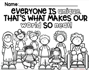 Differences Make Us Unique Coloring Page FREEBIE by Its