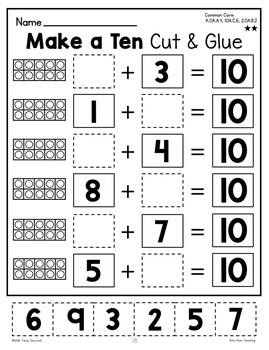 Make a Ten Cut & Glue Worksheets {Differentiated} by Bite