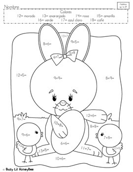 Differentiated Easter Coloring Page- SPANISH by HoneyBee