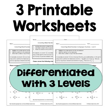 Converting Mixed Numbers To Improper Fractions Worksheets (differentiated