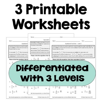 Equivalent Fractions Worksheets Differentiated By Sheila