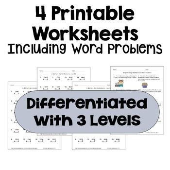 Multiplication Worksheets: 4 Digit by 1 Digit (3 Levels