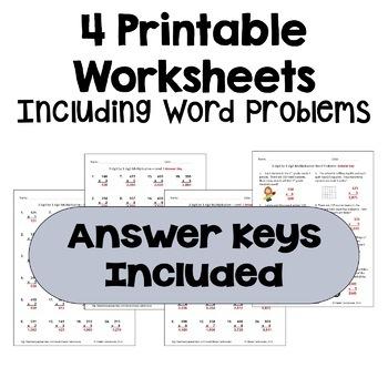 Multiplication Worksheets: 3 Digit by 1 Digit (3 Levels