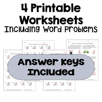 Multiplication Worksheets: 3 Digit by 2 Digit (3 Levels