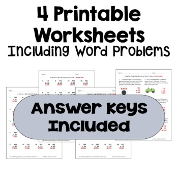 Multiplication Worksheets: 3 Digit by 2 Digit with Word