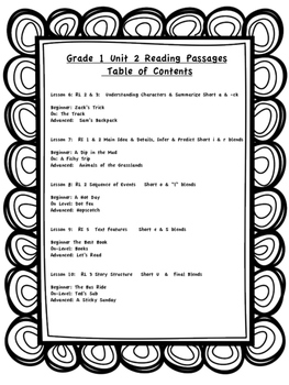 Differentiated Reading Passages for First Grade Unit 2 by