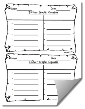 Differentiated T-Chart Graphic Organizer Template by