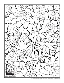 Difficult Flowers Word Search with coloring page by