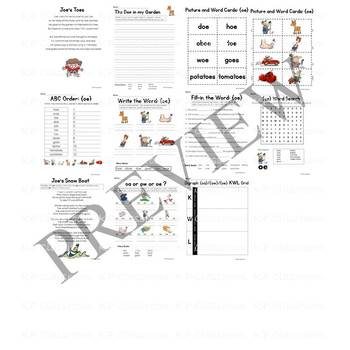 Digraph OA OW OE Vowel Teams Activity Packet and