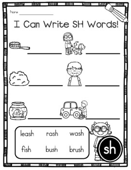 Digraph SH Phonics Practice Printables and Activities