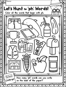 Digraphs Phonics PH Literacy Printables for Kindergarten