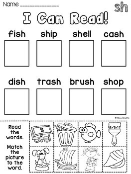 Digraphs: SH TH Worksheets and Activities {NO PREP} by