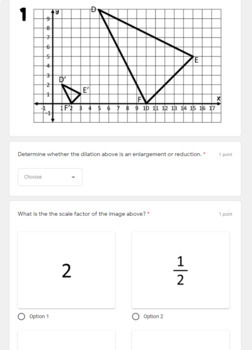 Dilations- digital assignment for use with Google Forms by