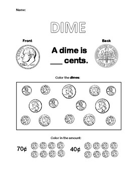 Dime Worksheet By Think Mink