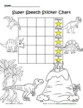 Dinosaur Speech Sticker Chart & Coloring Page by Carefree