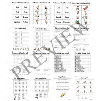 Diphthong OI OY Vowel Sounds Activity Packet and