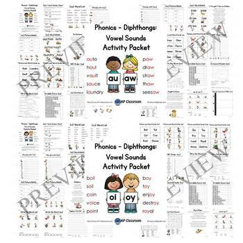 Diphthongs AU/AW OI/OY OU/OW OO/EW Vowel Sounds Activity