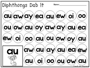 Diphthongs Dab It Worksheets. 10 pages. Kindergarten-1st