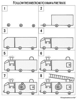 How To Draw A Fire Truck : truck, TRUCK, Directed, Drawing, Writing, Prompts, CrazyCreations