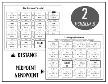 Distance Formula and Midpoint Formula Mazes by All Things