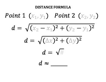 Distance Formula and Midpoint Formula Template by Math Fun