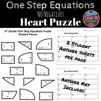 Solving Equations One Step Equations No Negatives Heart