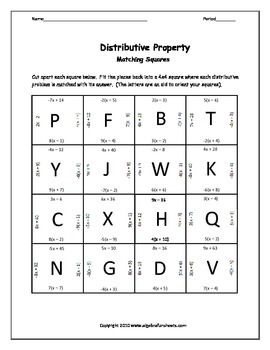 Distributive Property: 5 P... by Algebra Funsheets