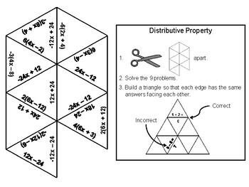 Distributive Property Game (with Negatives): Math Tarsia