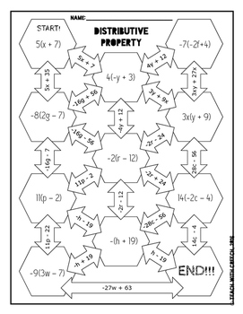 Distributive Property Maze and Worksheet by GC Math Market
