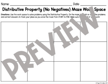 Distributive Property (No Negatives) Math Maze NO PREP