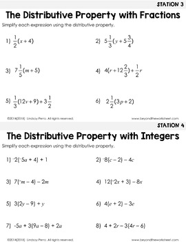 Distributive Property : Middle School Math Stations by